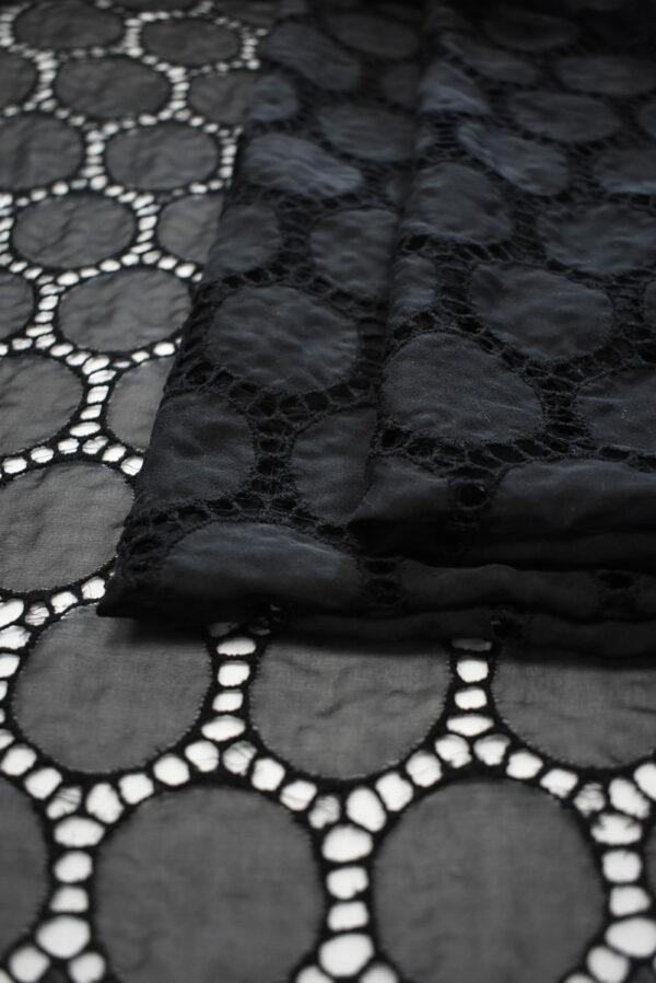 Шифон шелк черный с вышивкой (9325) - Фото 9