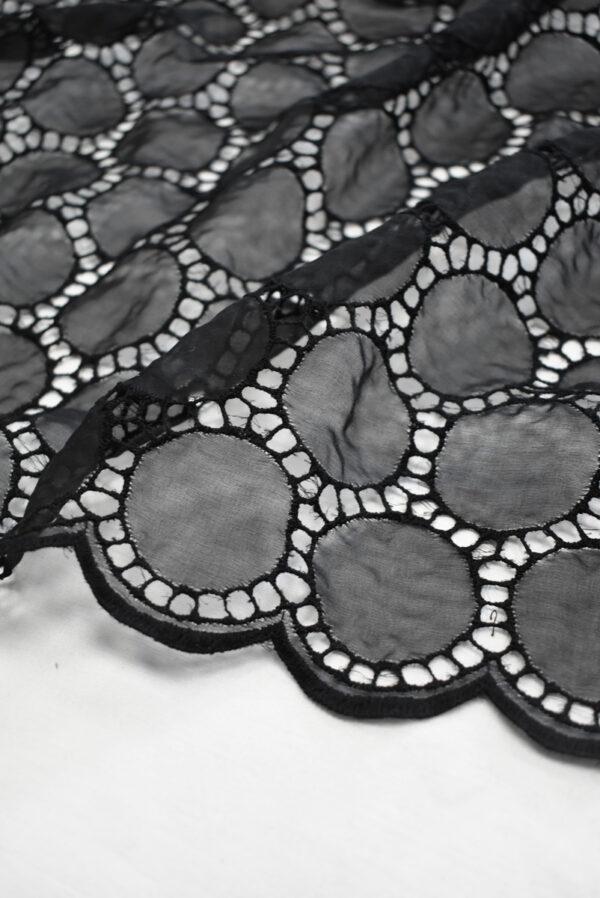 Шифон шелк черный с вышивкой (9325) - Фото 8