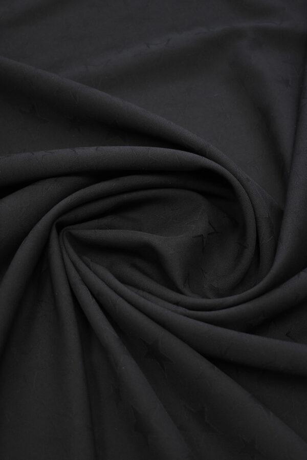 Костюмная шерсть черная со звездами (9326) - Фото 8