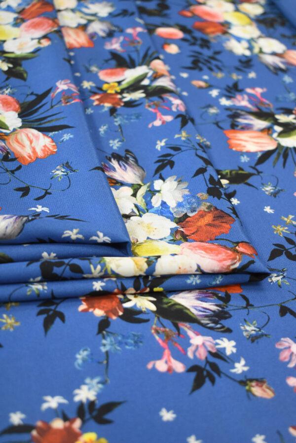 Шелк синего оттенка с цветами (9336) - Фото 9