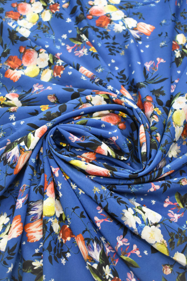 Шелк синего оттенка с цветами (9336) - Фото 8