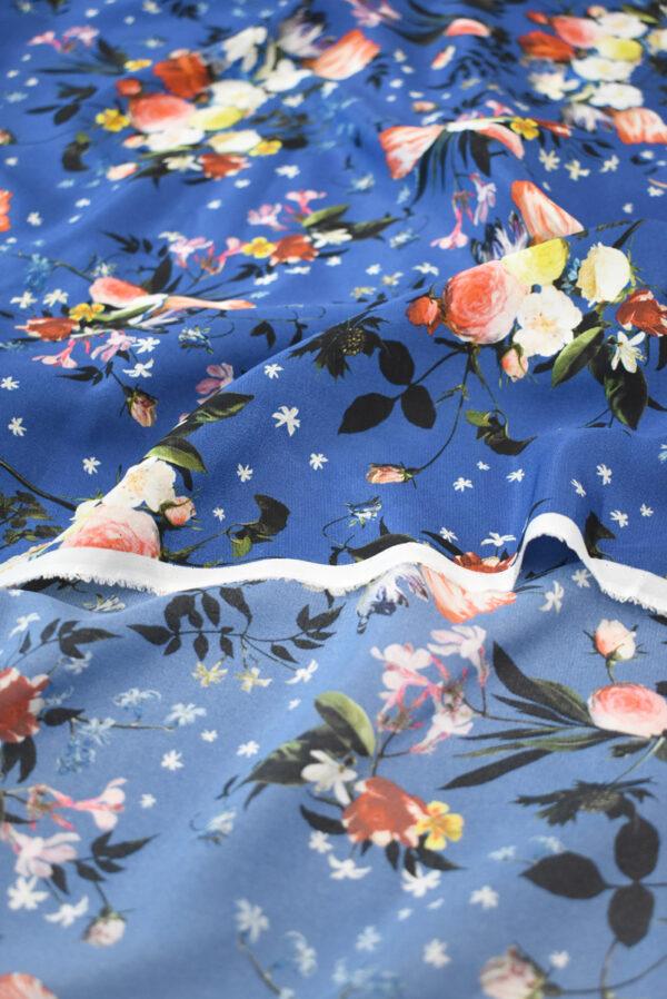 Шелк синего оттенка с цветами (9336) - Фото 10
