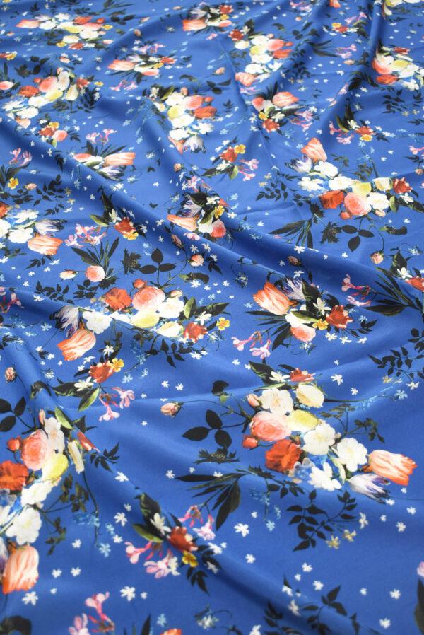 Шелк синего оттенка с цветами (9336) - Фото 6