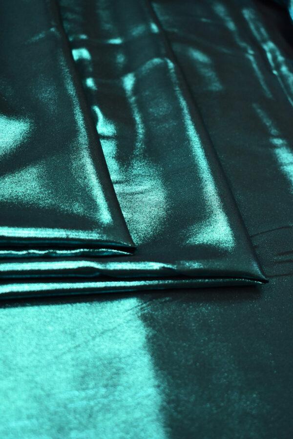 Шелк оттенка морской волны с глиттером (9352) - Фото 9