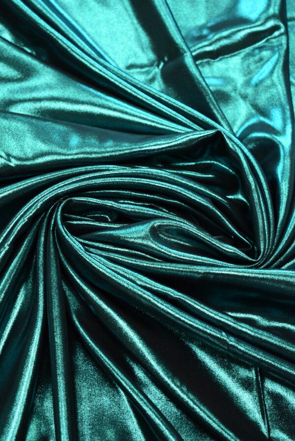 Шелк оттенка морской волны с глиттером (9352) - Фото 7