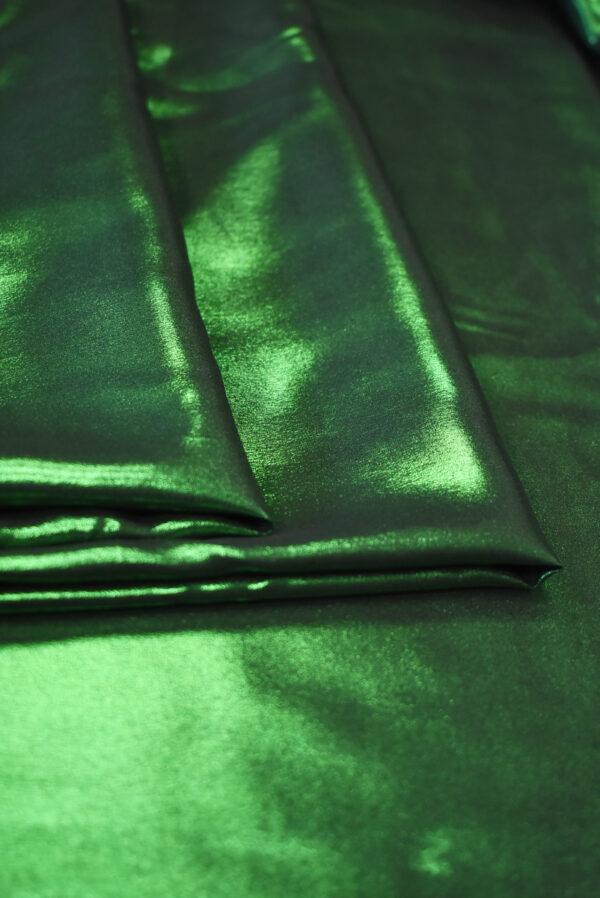 Шелк металлик с зеленым глиттером (9356) - Фото 8