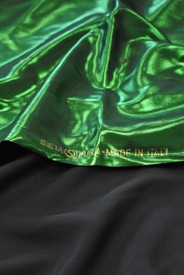 Шелк металлик с зеленым глиттером (9356) - Фото 10