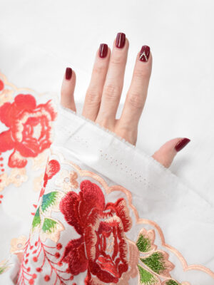 Вышивка ярко-красные цветы на белом фоне (9423) - Фото 15