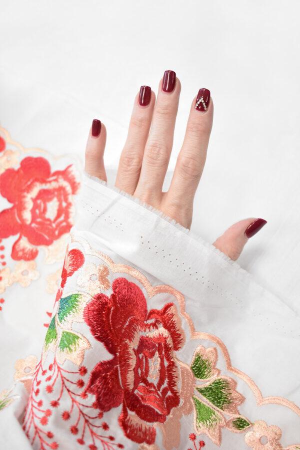 Вышивка ярко-красные цветы на белом фоне (9423) - Фото 7