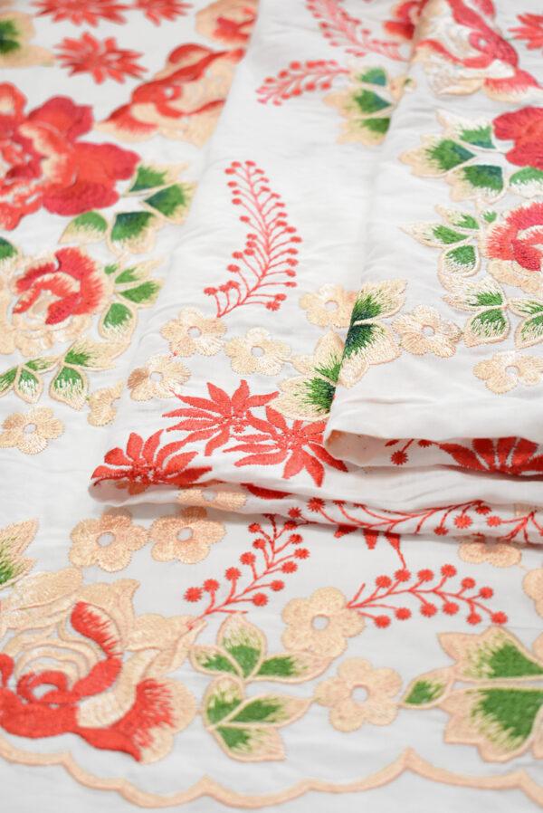 Вышивка ярко-красные цветы на белом фоне (9423) - Фото 10