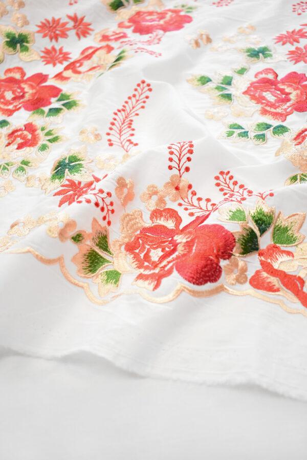 Вышивка ярко-красные цветы на белом фоне (9423) - Фото 9