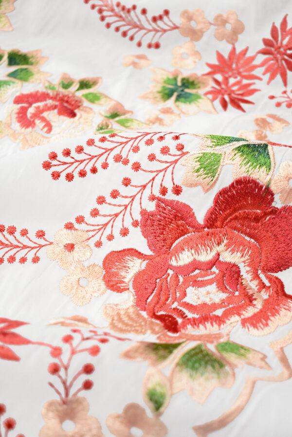 Вышивка ярко-красные цветы на белом фоне (9423) - Фото 11