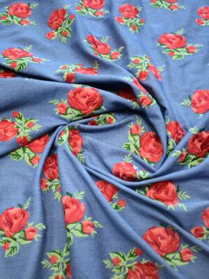 Джинс голубой вышивка красные розы (9438) - Фото 27