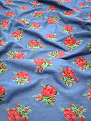 Джинс голубой вышивка красные розы (9438) - Фото 26