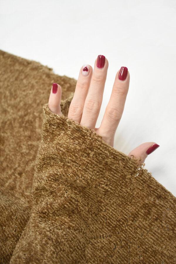 Трикотаж велюровый коричневого оттенка (9383) - Фото 11