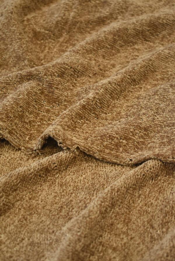 Трикотаж велюровый коричневого оттенка (9383) - Фото 10