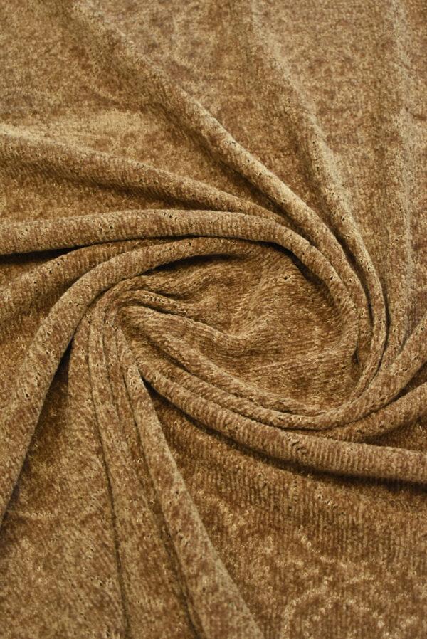 Трикотаж велюровый коричневого оттенка (9383) - Фото 7