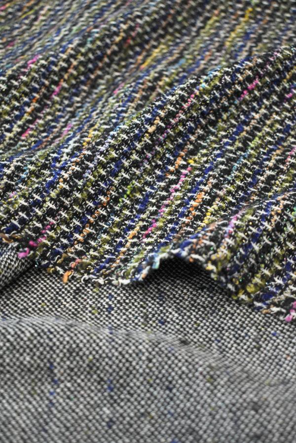 Трикотаж вязаный черный в разноцветную клетку (9386) - Фото 9
