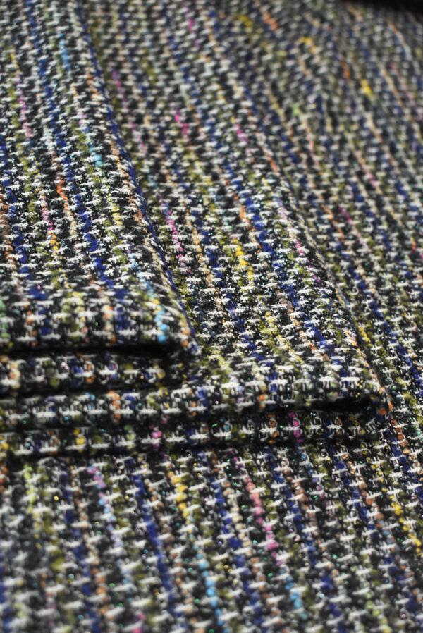 Трикотаж вязаный черный в разноцветную клетку (9386) - Фото 10