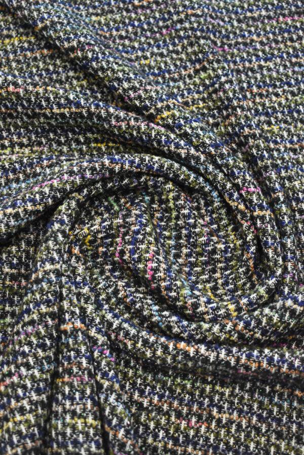 Трикотаж вязаный черный в разноцветную клетку (9386) - Фото 8