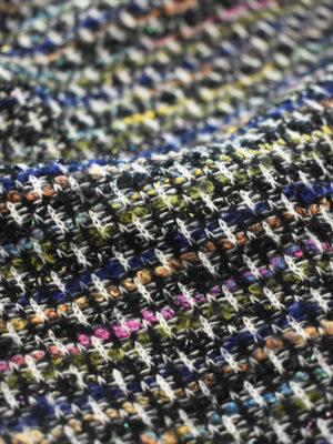 Трикотаж вязаный черный в разноцветную клетку (9386) - Фото 15