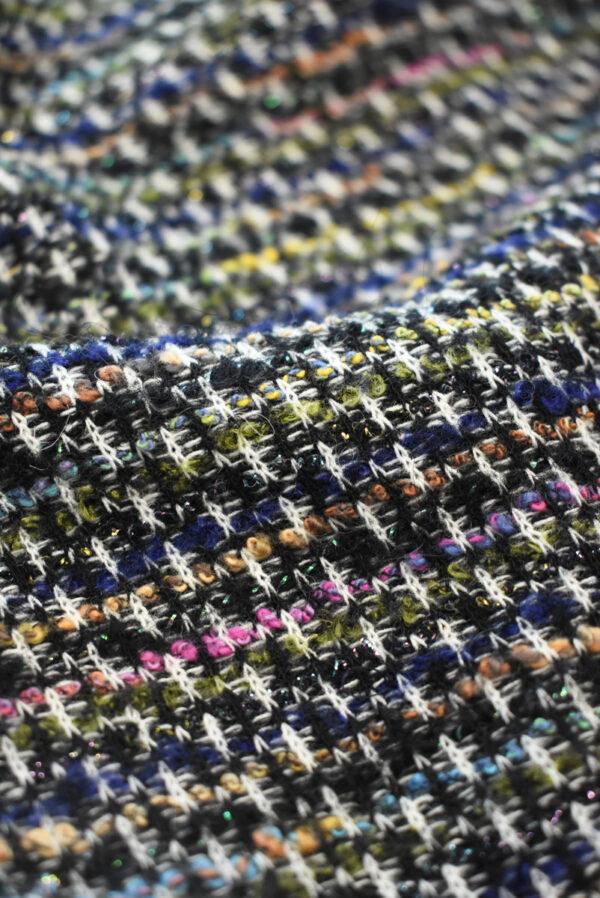 Трикотаж вязаный черный в разноцветную клетку (9386) - Фото 7