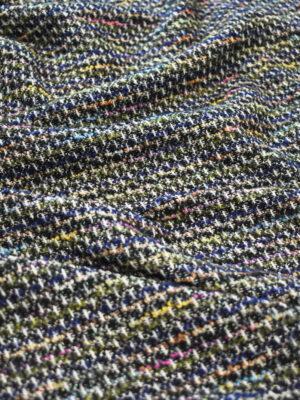 Трикотаж вязаный черный в разноцветную клетку (9386) - Фото 14