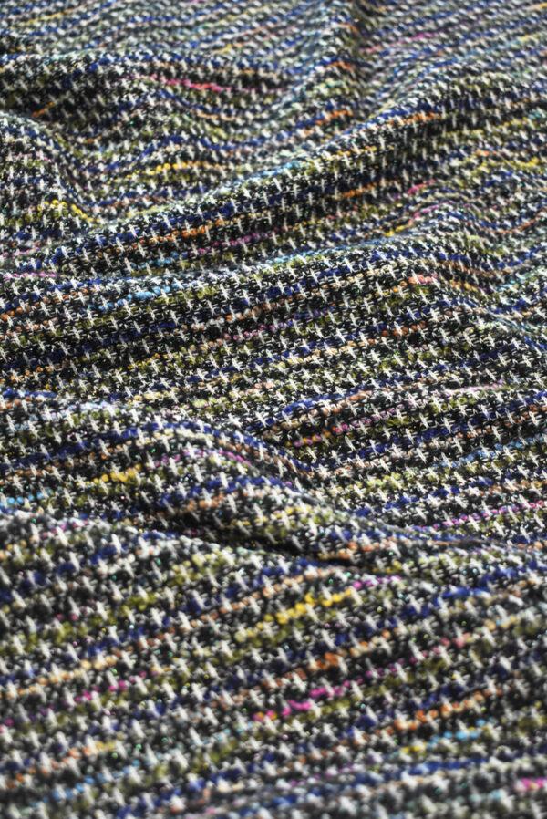 Трикотаж вязаный черный в разноцветную клетку (9386) - Фото 6