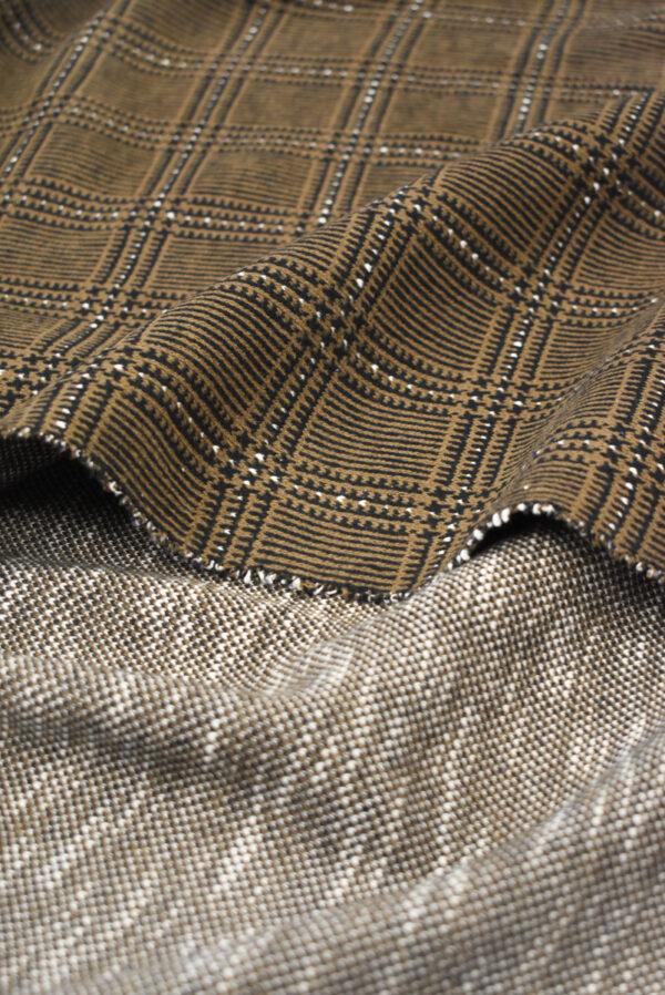 Джерси коричневого оттенка в клетку (9281) - Фото 7