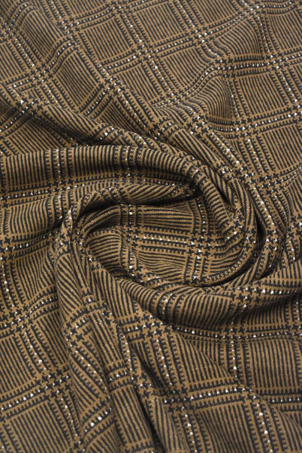 Джерси коричневого оттенка в клетку (9281) - Фото 9