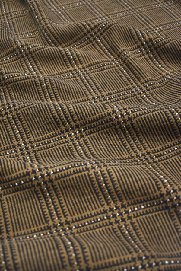 Джерси коричневого оттенка в клетку (9281) - Фото 6