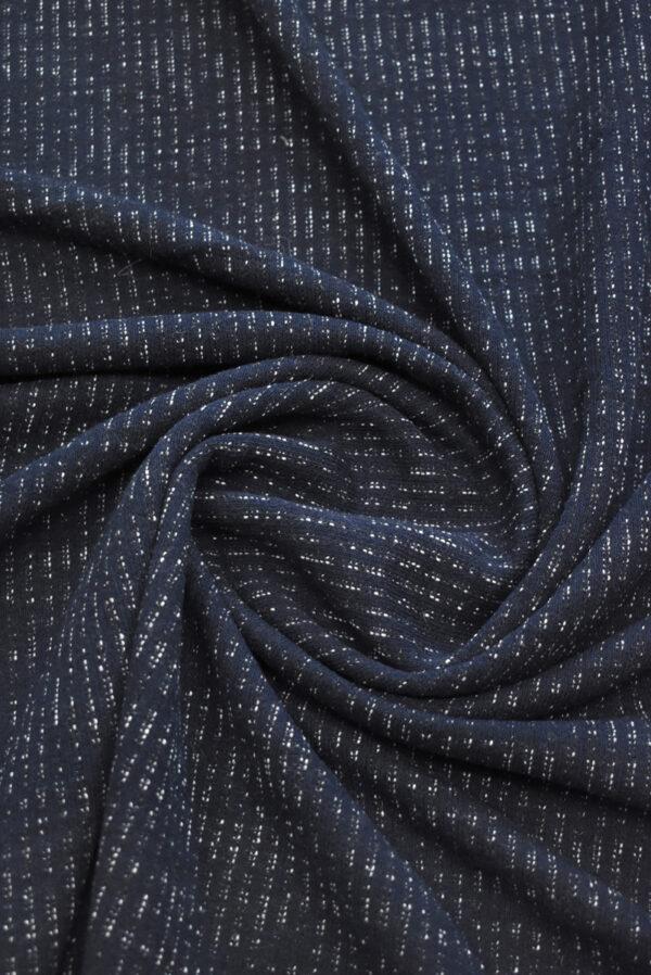 Трикотаж шерстяной темно-синий в полоску (9284) - Фото 7