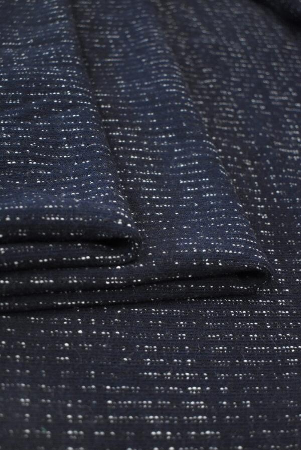 Трикотаж шерстяной темно-синий в полоску (9284) - Фото 9