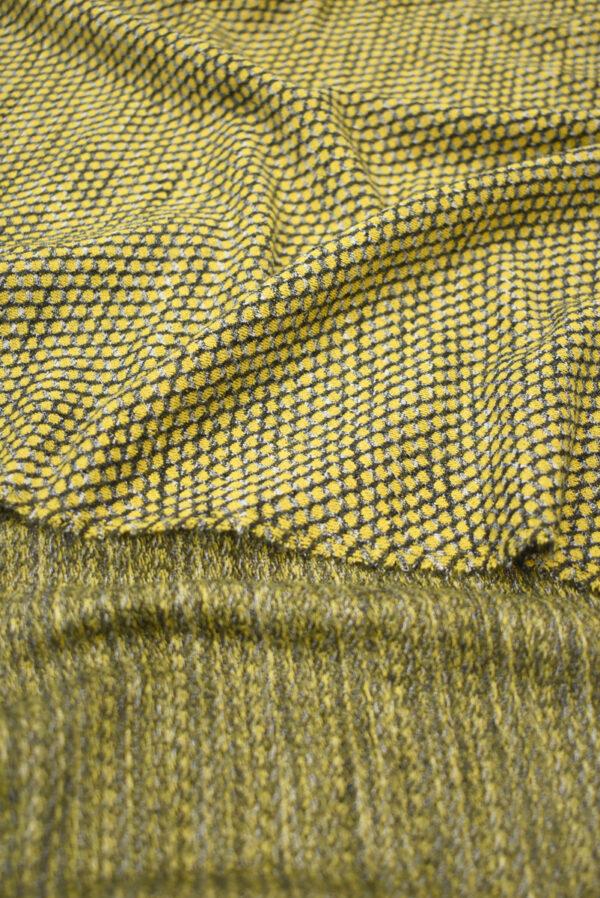 Трикотаж желтый с узором в виде чешуи (9287) - Фото 9