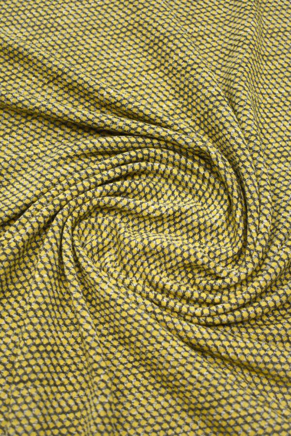 Трикотаж желтый с узором в виде чешуи (9287) - Фото 7