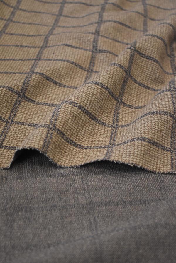 Джерси коричневого оттенка в прямоугольник (9288) - Фото 8