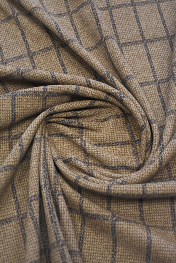 Джерси коричневого оттенка в прямоугольник (9288) - Фото 9