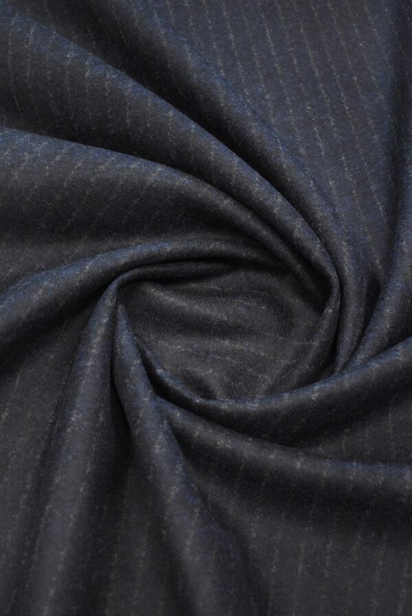 Джерси шерсть двухстороннее черника в полоску (9384) - Фото 10