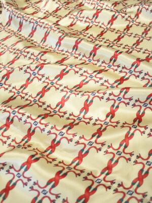 Шелк атласный беж с красными змейками (9449) - Фото 13