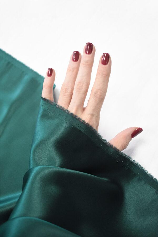 Шелк атласный темно-зеленый (9462) - Фото 7