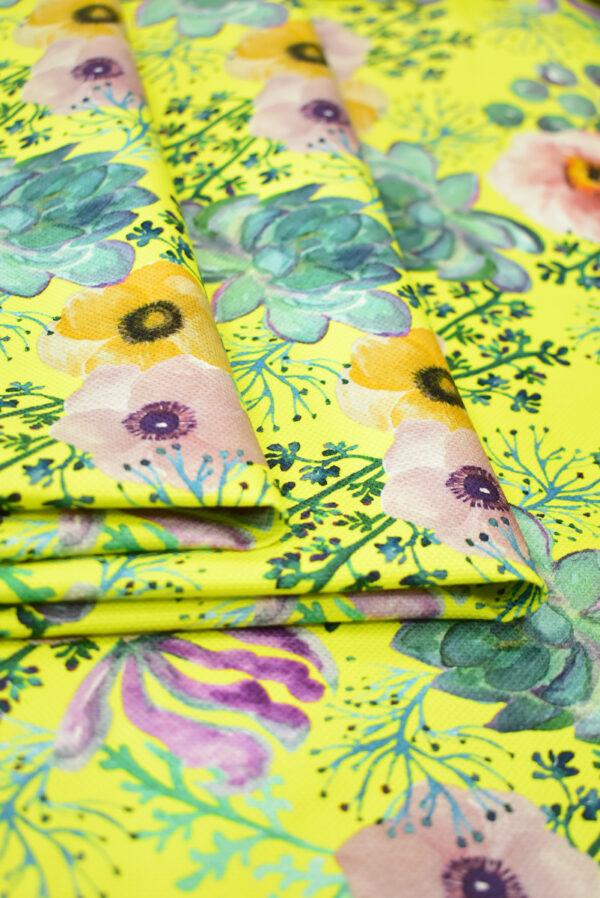 Рогожка ярко-желтая с акварельными цветами (9495) - Фото 9