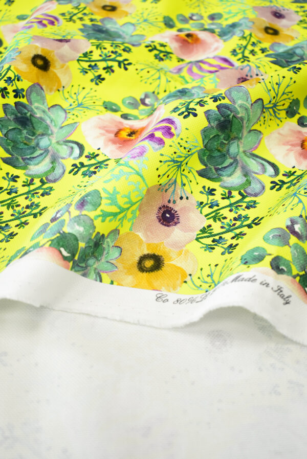 Рогожка ярко-желтая с акварельными цветами (9495) - Фото 10