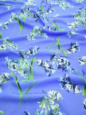 Штапель голубого оттенка с цветами (9503) - Фото 16