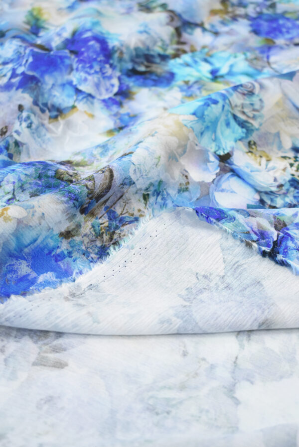 Штапель с синими и голубыми розами (9505) - Фото 9