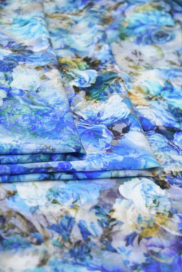 Штапель с синими и голубыми розами (9505) - Фото 8