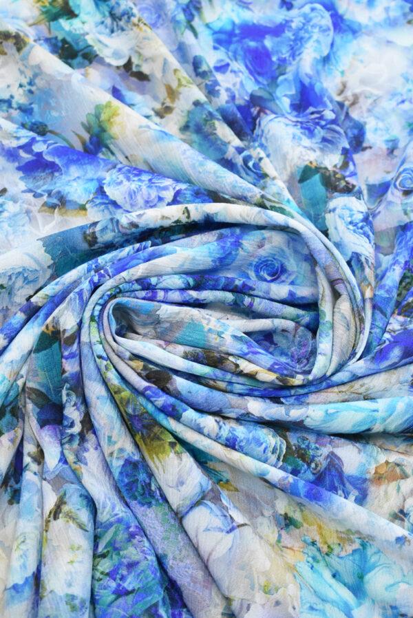 Штапель с синими и голубыми розами (9505) - Фото 7
