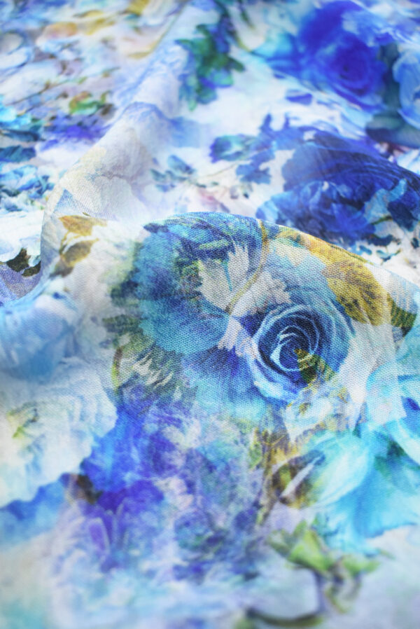 Штапель с синими и голубыми розами (9505) - Фото 10