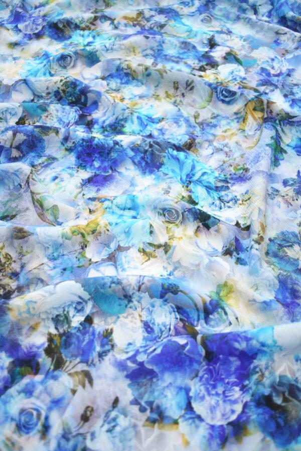 Штапель с синими и голубыми розами (9505) - Фото 6
