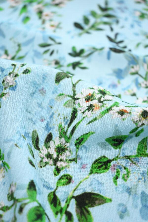Штапель голубой с мелкими цветочками (9506) - Фото 9