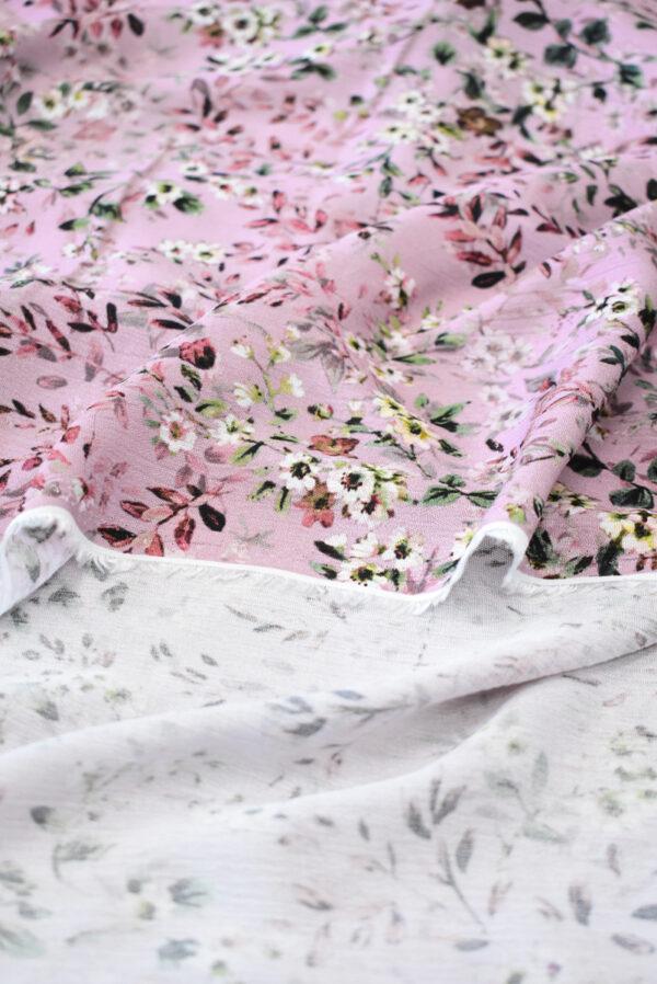 Штапель пыльная роза с мелкими цветочками (9507) - Фото 9